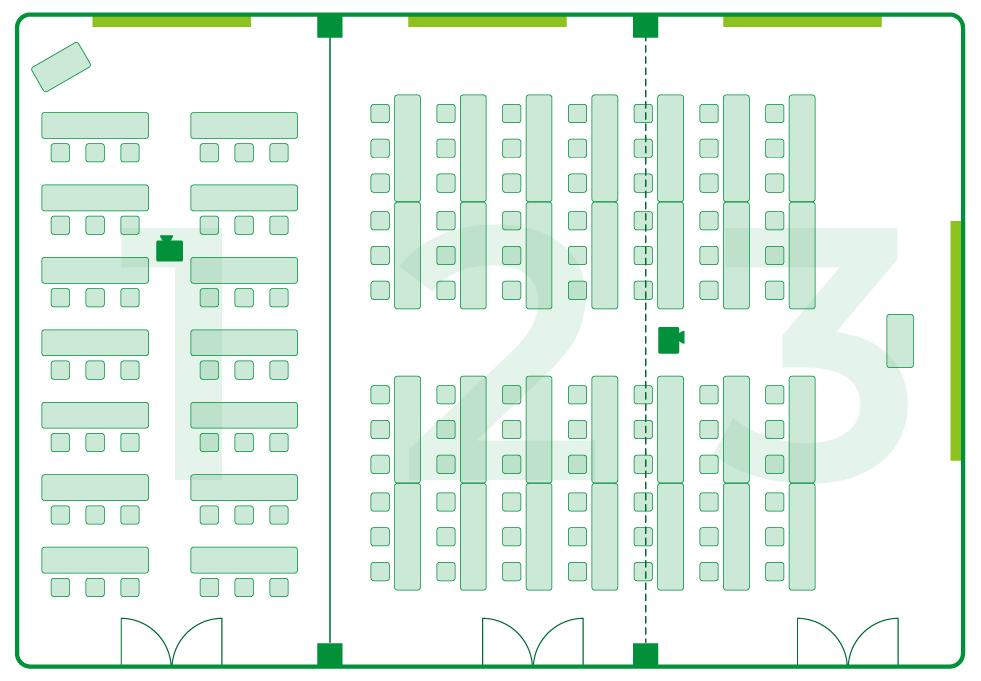 いわき 貸会議室 レンタルスペース 学びの杜グランディール ルームレイアウト ルーム1 ルーム2+3