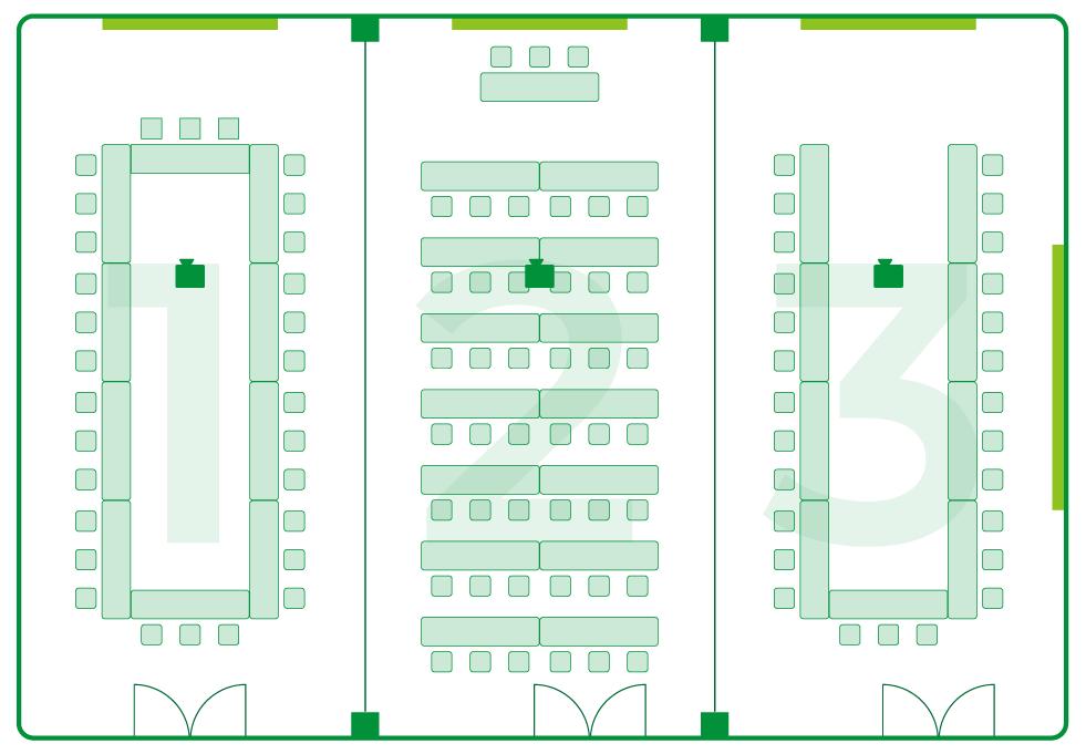いわき 貸会議室 レンタルスペース 学びの杜グランディール ルームレイアウト ルーム1 ルーム2 ルーム3