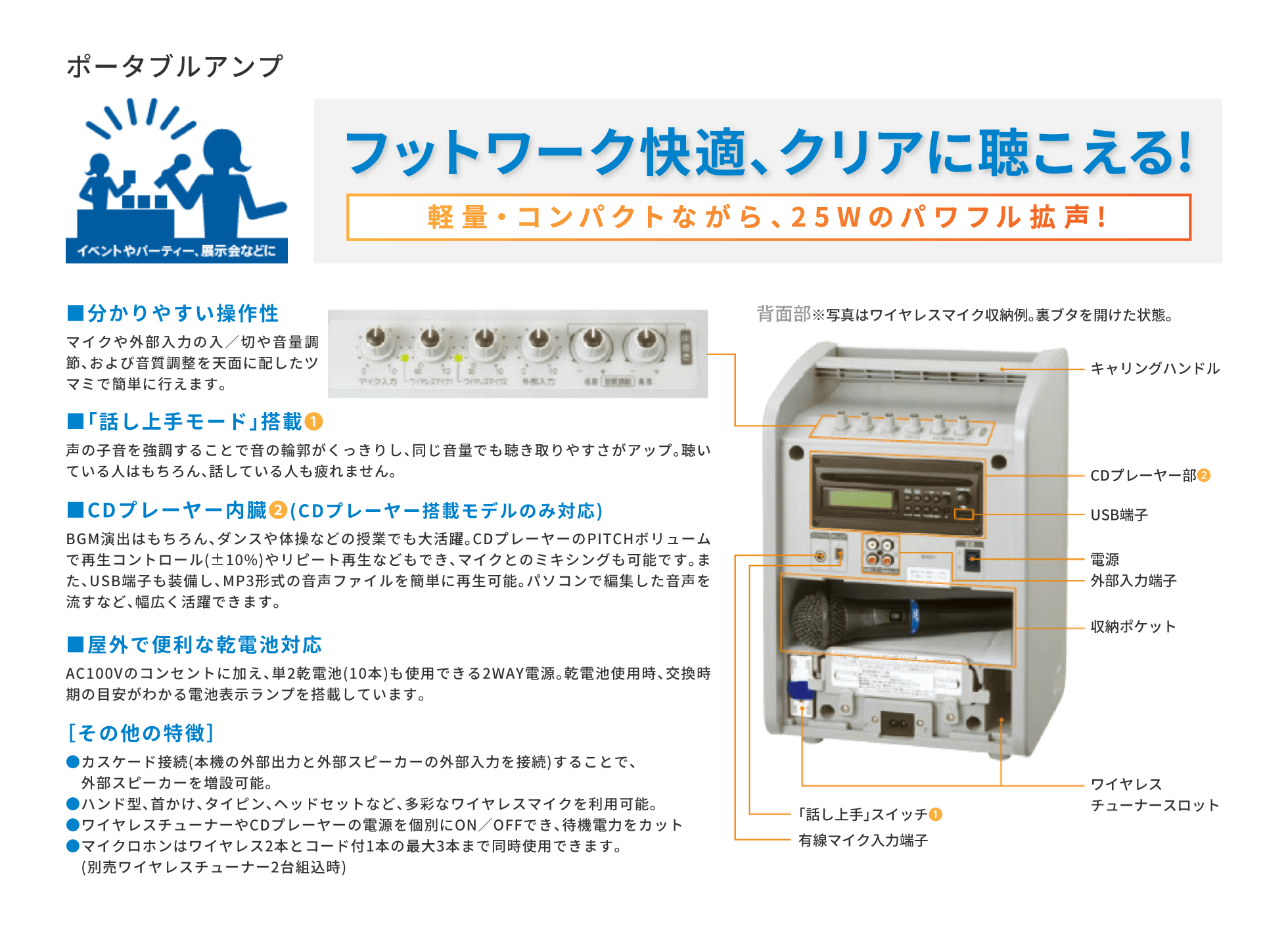 いわき 貸会議室 レンタルスペース 学びの杜グランディール 貸出備品 ポータブルアンプ(有料)